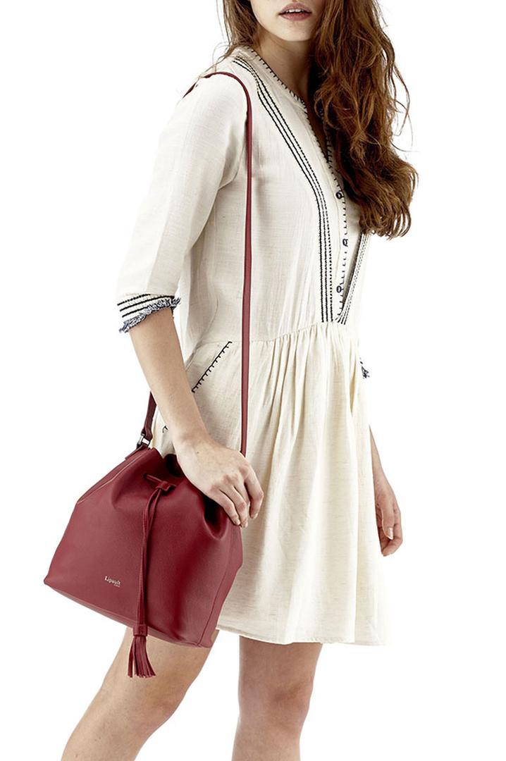 Plume Elegance Bucket Bag Ruby   3