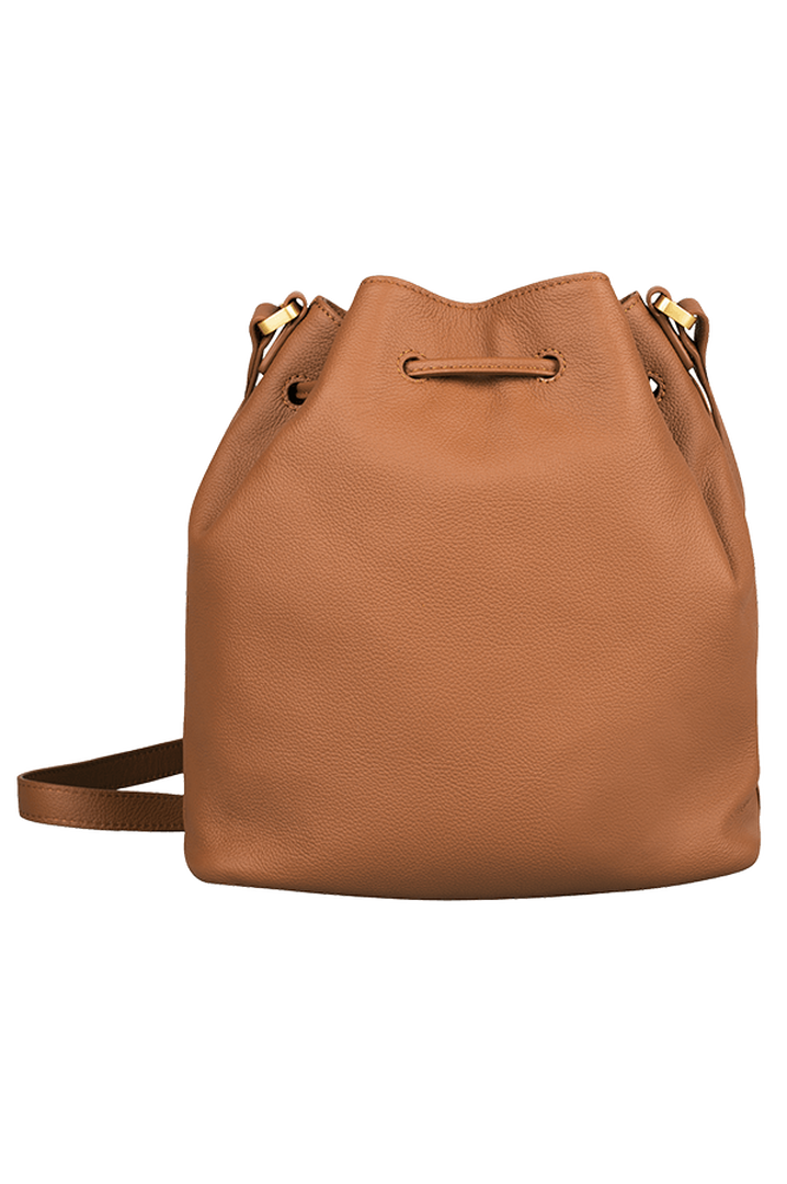 Plume Elegance Bucket Bag Cognac   3